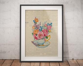 Floral Teapot | Tea Poster, Floral Teapot Print, Flowers Teapot Art, Floral Teapot Art, Teapot Bouquet, Newspaper Print, Teapot Bouquet Art
