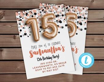 15th birthday rose blush invite balloon invitation editable template gold foil balloon rose gold confetti invite 15th birthday