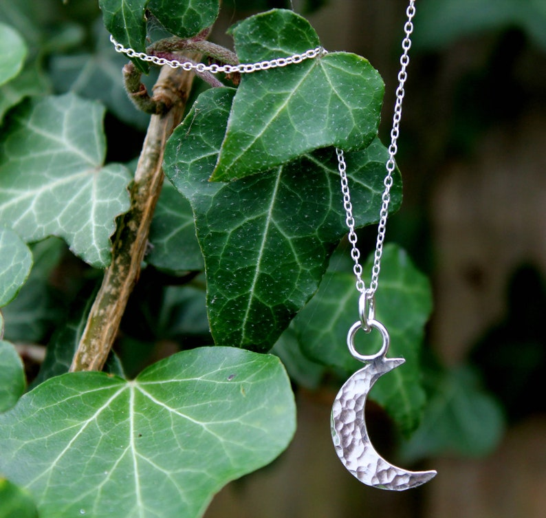 Half Moon Crescent Moon Necklace Sterling Silver Necklace image 0