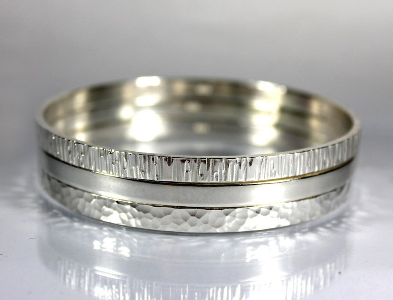 Gift Textured Thick Half Bangle Trio Zero Waste Packaging Sterling Silver Thick Bangle Thick and Heavy Sterling Silver Bangle