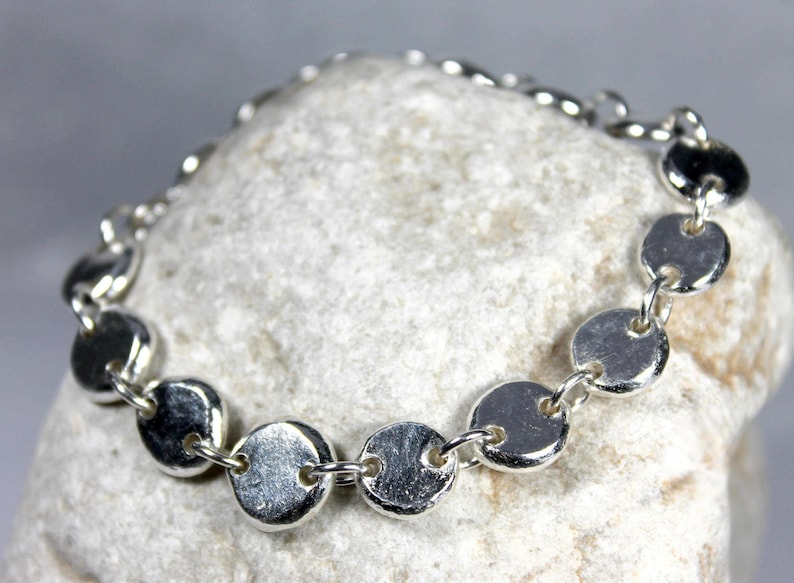 Linked Pebble Bracelet Solid Sterling Silver Zero Waste image 0