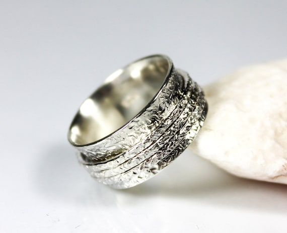Rustic fidget Silver Spinning Ring for man and women