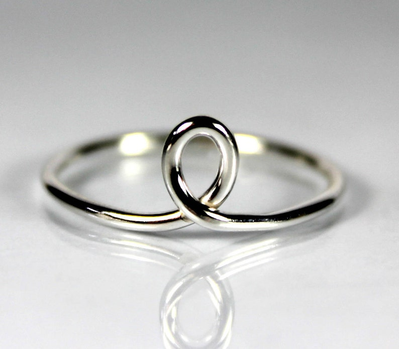 Gift Ideas Stacking Stackable Ring Thin Loop Ring Sterling Silver Zero Waste Packaging Gift For Her Minimal