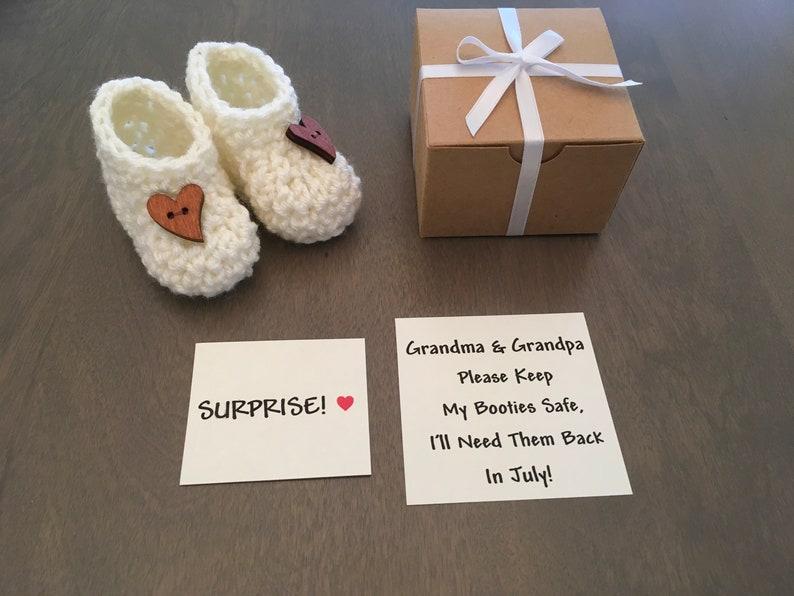 Pregnancy Announcement Grandparents Announcement Booties image 0