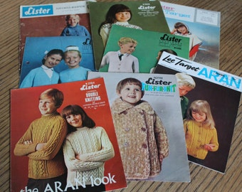 Original Vintage Knitting Patterns  Lister / Lee Target / 8 Patterns from 1960's - 1980's / Children and Teenagers / NOT A PDF