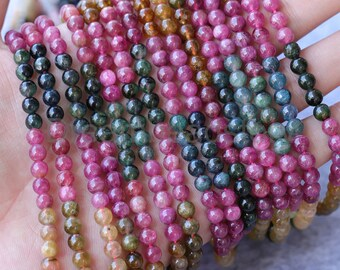 Natural Brazil Rainbow Tourmaline 3mm 4mm 5mm AAA Grade Mixed Color Undyed Healing Gemstone Beads Sold by Strand