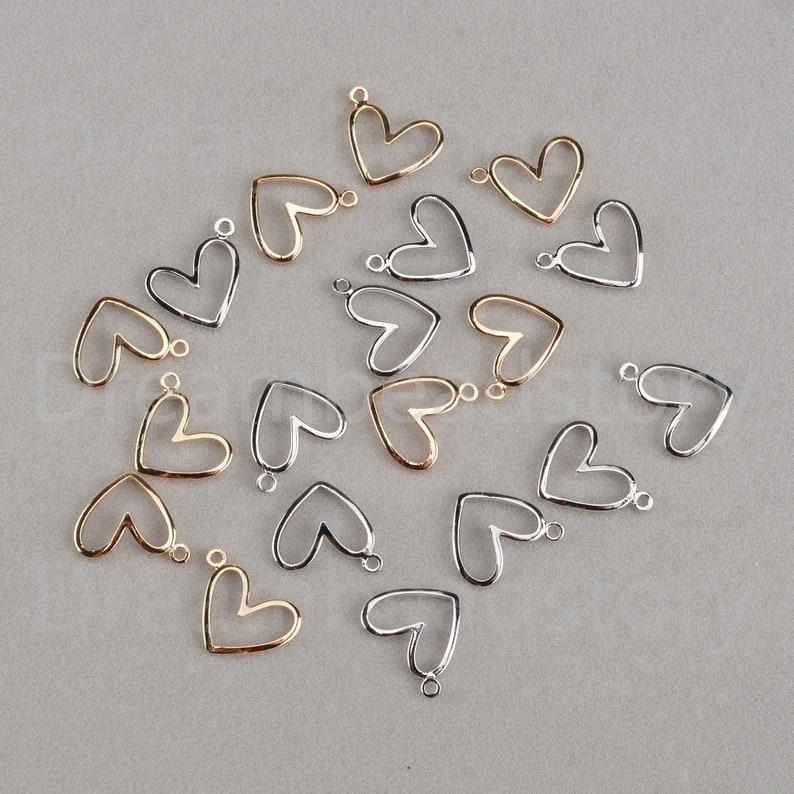 2-200 Pcs 18K Gold White Gold Filled Brass Hollow Heart Geometric Charms Pendant for Necklace Earrings Making 12*14mm 1  Loop