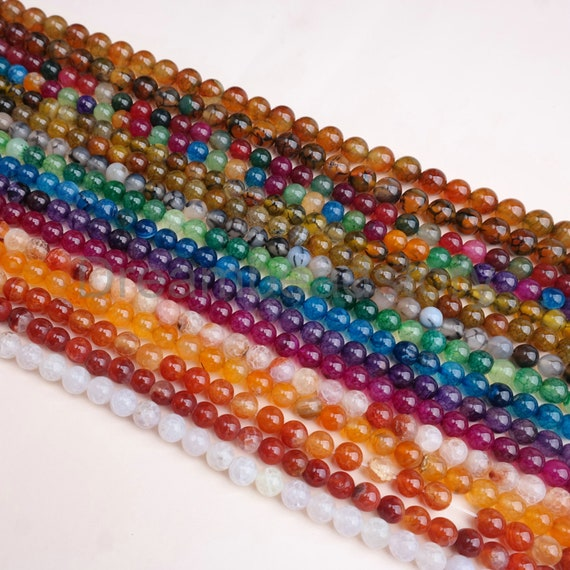 6MM PINK DRAGON VEIN AGATE GEMSTONE FACETED ROUND LOOSE BEADS 14.5/""