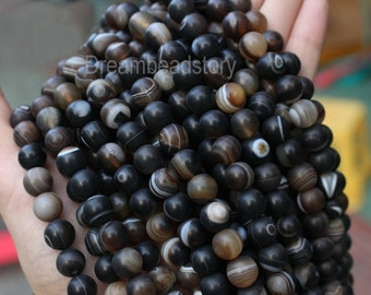 Natural Tibetan Sardonyx Agate Beads, 10mm 16mm Black and White Striped Agate Stone Beads (HX13)
