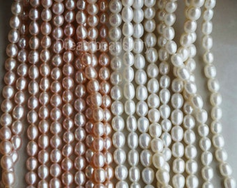 Loose Pearl Beads, Pearl String, Pearl Strand, Rice Pearls, 4-5mm 5-6mm 7-8mm White Pearls, Natural Freshwater Pearls, Pearl Jewelry Beads