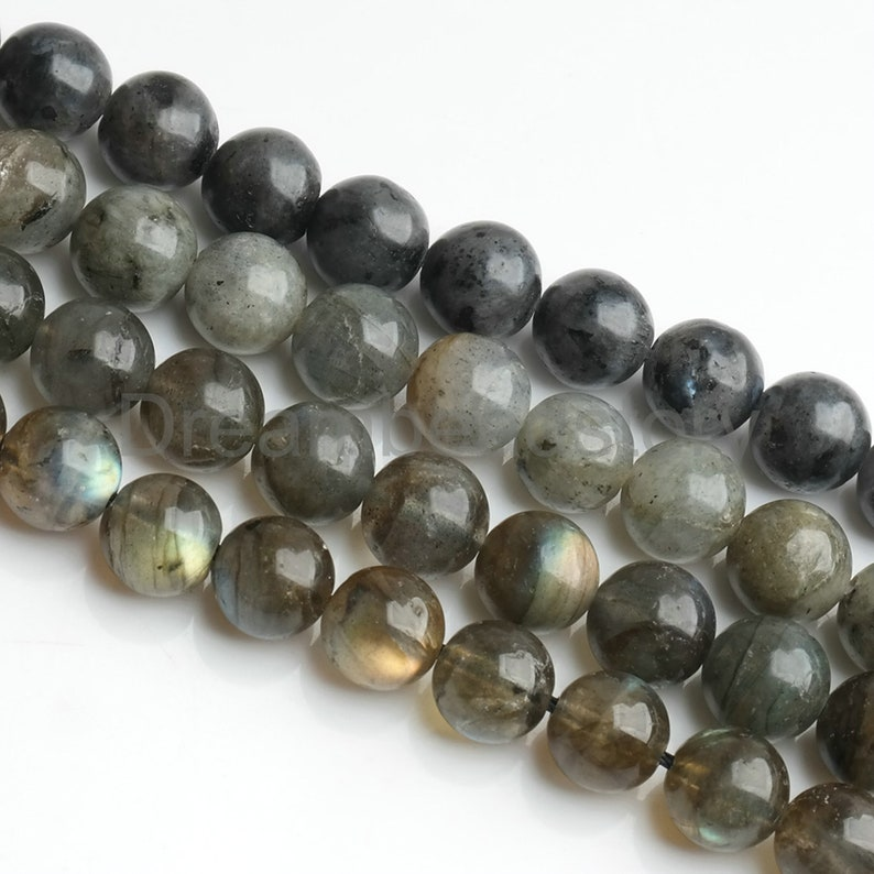 18 Inches Long 10mm Natural Black gray Labradorite Faceted Round Beads Necklace