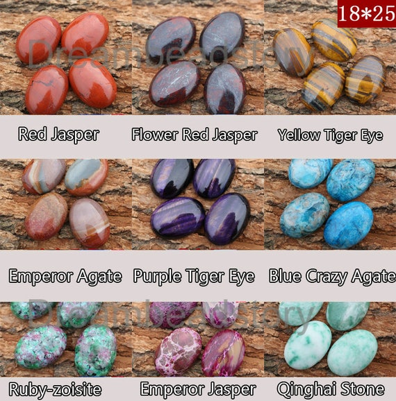 1825mm Oval Natural Semi Precious Stone Cabochon Beads Sold Etsy
