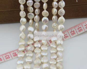 12-14mm White Pearl Coin Beads, Freedom Flat Round Button Freshwater Pearl Beads with Not Smooth Surface (XMZ107)