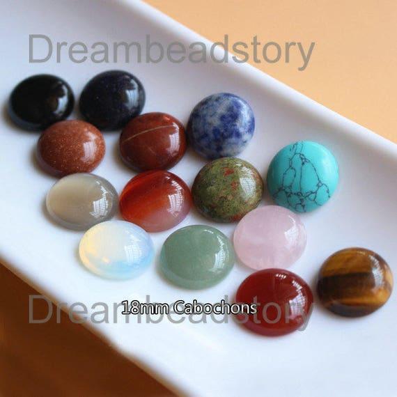 2 Pieces Natural Semi Precious Stone 18mm Round Loose Etsy