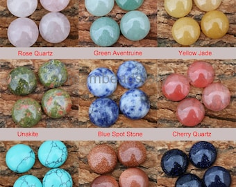 4-100 Pcs Jewelry Cabochons Lots Wholesale Natural Gemstone Round No Hole Flat Back Half Cabochons for Jewelry Making (16mm)