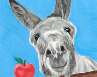 Donkey Art Print, Apple Art, Donkey Decor - Fine Art Giclee Print of an Original Pawstel