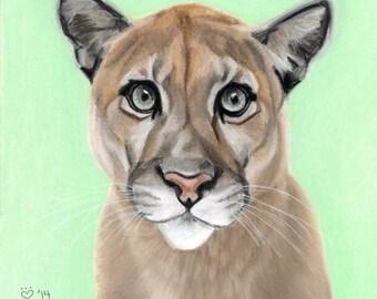 Cougar/Mountain Lion Art Print, Wildlife Decor, - Fine Art Giclee Print of an Original Pawstel