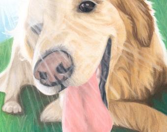 Golden Retriever Dog Art Print, Sunshine Art, Dog Lover Gift, Dog Decor - Fine Art Giclee Print of an Original Pawstel