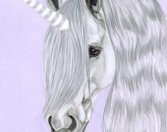 Unicorn Art Digital Download, Equine Art, The Last Unicorn Painting, Fairy Tale Art, Princess Decor, Instant Download