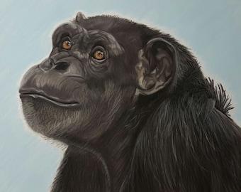 Chimpanzee Art Print, Monkey Art and Decor, Annie the Chimp Portrait - Fine Art Giclee Print of an Original Pawstel
