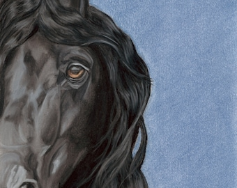 Friesian Black Horse Art Print, Equine Art, Equestrian Decor, Horse Gift- Fine Art Giclee Print of an Original Pawstel