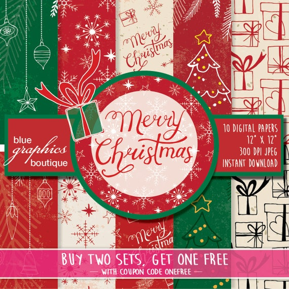 Christmas Images Free For Commercial Use.Merry Christmas Digital Paper Buy 2 Get 1 Free Free Commercial Use For Small Business Holidays Snowflake Christmas Tree Gifts