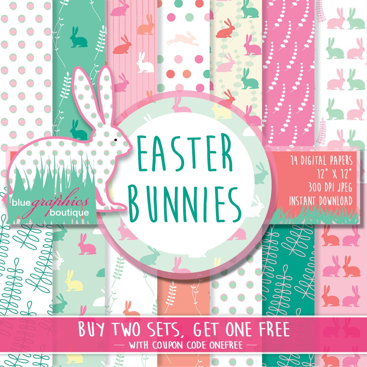 Easter printable bunny Free Commercial Use for Small Business EASTER BUNNIES Digital Paper Buy 2 Get 1 Free Easter scrapbook papers