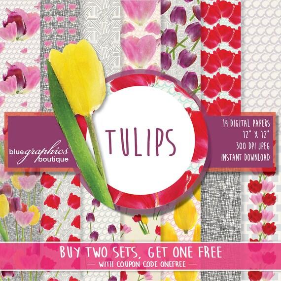 Floral digital paper tulip buy 2 get 1 free free commercial use floral digital paper tulip buy 2 get 1 free free commercial use for small business flower scrapbook paper flower printable floral mightylinksfo