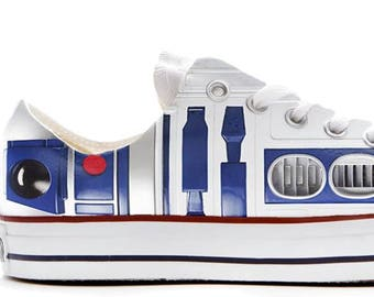 R2D2 Droid style wars in the star illustration custom converse low top shoes sneakers printed trainers gift