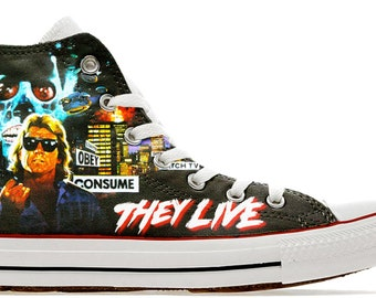 c47e18de62015d Aliens are here obey They Live Im here to kick ass and chew bubble gum custom  printed genuine converse syfy scifi shoes