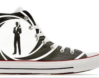 8e6c9b69baf883 007 cult bond movie design custom converse high top shoes James sneakers  high top gift trainers printed secret service