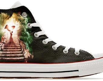a4f8fafcb46f ride a Zeppelin up a Stairway to heaven - Custom printed converse band  shoes band heavy metal rock sneakers gift trainers