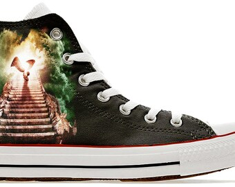 baad03668079 ride a Zeppelin up a Stairway to heaven - Custom printed converse band shoes  band heavy metal rock sneakers gift trainers