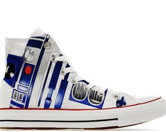 4b7b156d7993 R2D2 Droid style wars in the stars illustration custom converse High top shoes  sneakers trainers printed robot gift C3PO