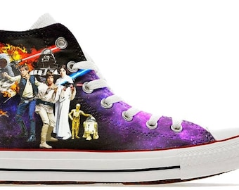 3180c9a99bfa wars in the stars illustration custom converse high top shoes trainers  sneakers printed syfy scifi movie r2d2 c3po Han