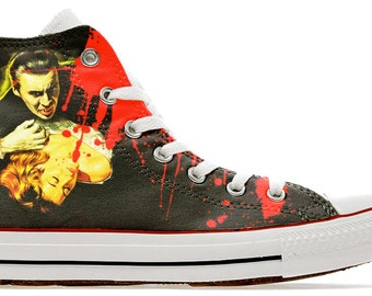 7885b973f367e1 Dracula horror vampire scary cult movie design custom converse high top  shoes sneakers trainers high top