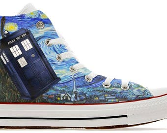 d21c7d593152 The doctor whovian police public call box time lord design custom converse  high top shoes who sneakers trainers printed
