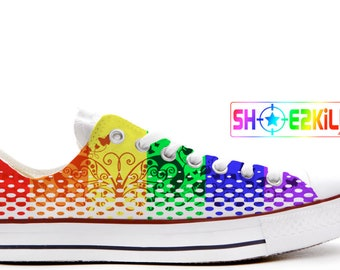 c99be329fad4 rainbow butterfly pride custom converse low top shoes - printed onto  genuine converse chucks trainers sneakers gift lgbt