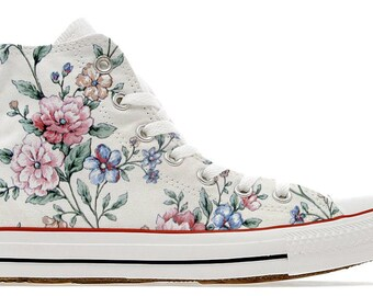 c0e11241091b vintage style flower power girly feminine design custom converse high top  shoes girl sneakers pattern gift floral printed