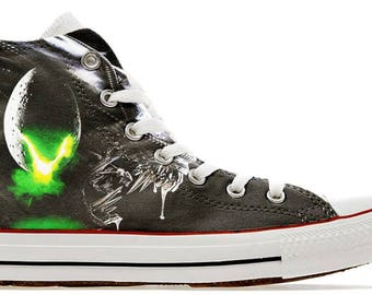 2e06b23d4286 Alien horror scary cult movie design custom converse high top shoes sneakers  trainers printed syfy scifi space gift laceup