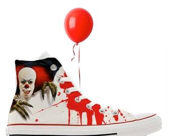 b43716cc1218b9 Scary clown Halloween alien horror scary cult movie design custom converse  high top shoes