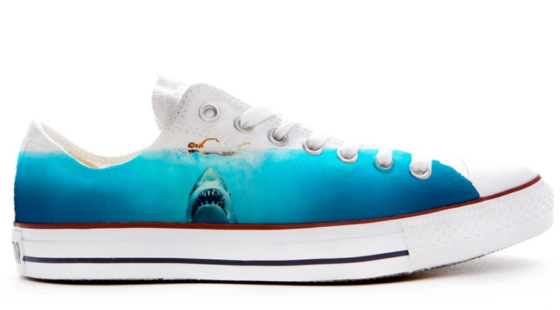 size 40 03751 1caa1 Shark attack movie design custom converse low top shoes great   Etsy