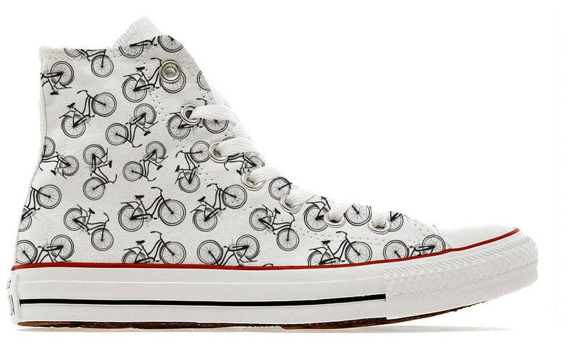bb477f7f6a83 Illustrated bicycle pattern custom converse high top shoes