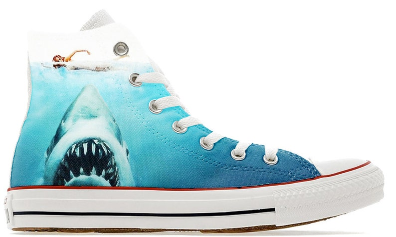 sports shoes 66610 f3a10 Shark attack movie design custom converse high top shoes great   Etsy