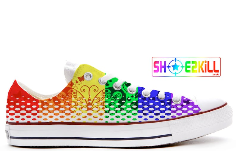 f3a8345dd583 Rainbow butterfly pride custom converse low top shoes
