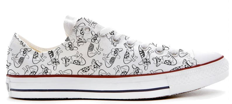ef006bac8b053 Black and white Quirky illustrated dogs with glasses and tashes converse  low top shoes great gift pet sneakers gift tattoo