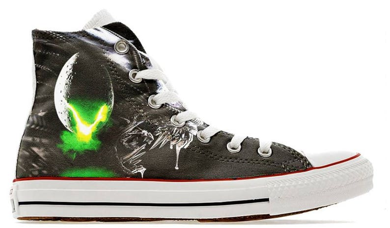 73756aee0df665 Alien horror scary cult movie design custom converse high top
