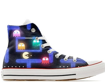 retro 80s arcade gamer pac ghost eater man illustrated custom converse high top shoes
