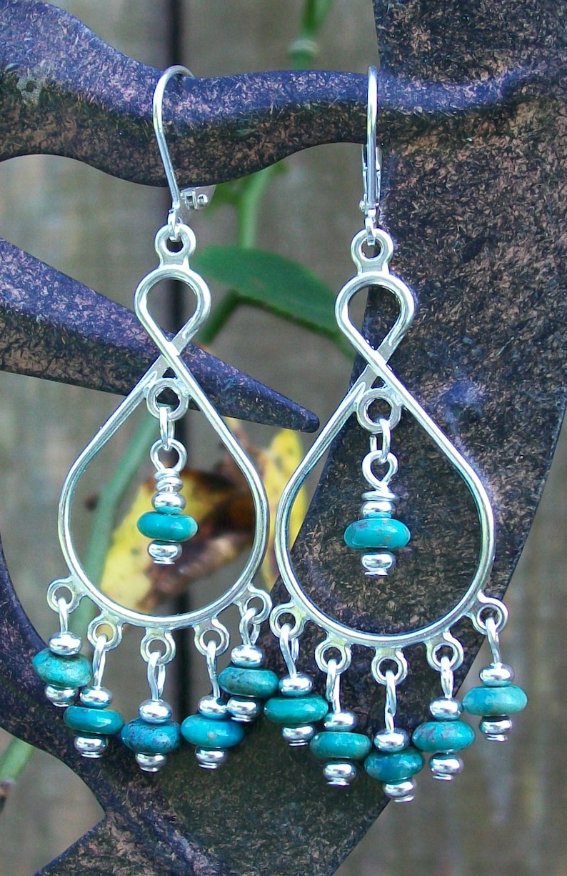 LKE0056 Elegant and Graceful with a Western Flare Surgical steel ear clasps. ATHENA Enchanting Turquoise Waterfall earrings