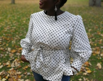 Polka dot Cotton Blouse with Belt, for her, womenswear, formal blouse, casual blouse, fall fashion, summer tops, spring tops